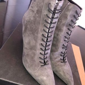 Dark Gray Liza Lace Up Suede Ankle Booties